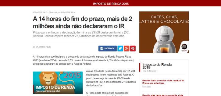 """Ahn?? Globo Erra e Diz Que Pessoas Podem Entregar Imposto de Renda Até às """"29h59"""""""