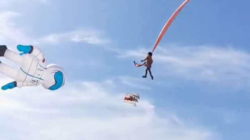 Garotinha é arrastada no ar por uma pipa gigante