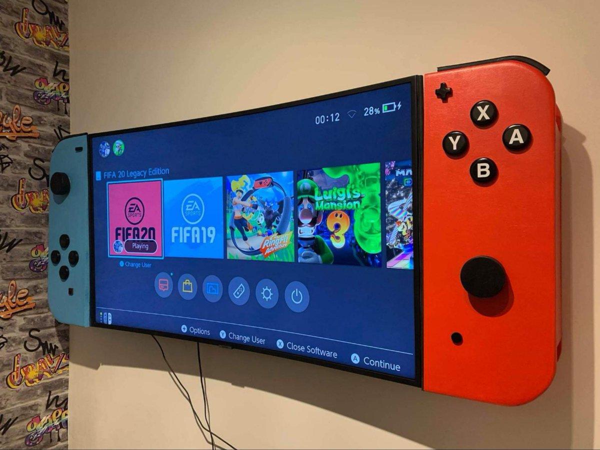 Pai constrói um Nintendo Switch gigante para a televisão do quarto de seu filho