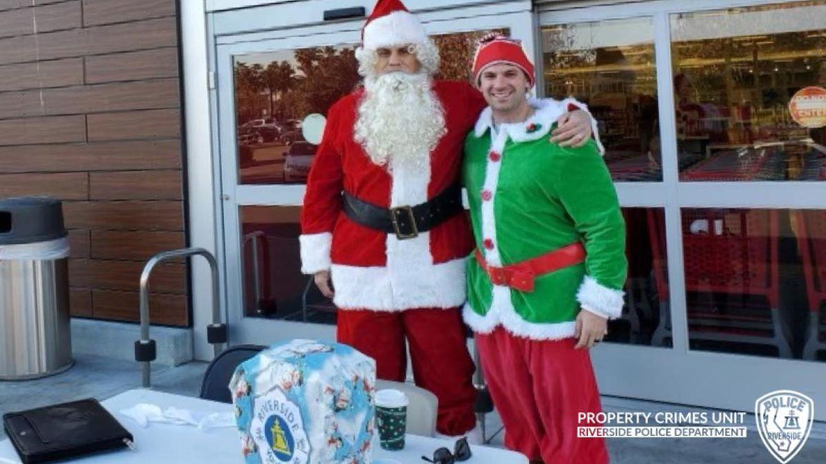Oficiais disfarçados de Papai Noel e seu elfo prendem ladrões de carro